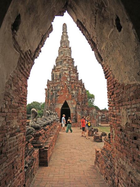 A view through a room at Wat Chaiwatthanaram in Ayutthaya, Thailand.