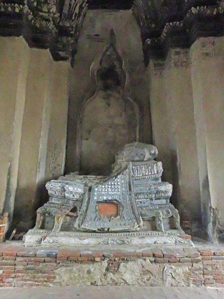 A missing Buddha image at Wat Chaiwatthanaram in Ayutthaya, Thailand.