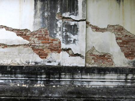 A beautifully weathered wall at Wat Phutthai Sawan in Ayutthaya, Thailand.