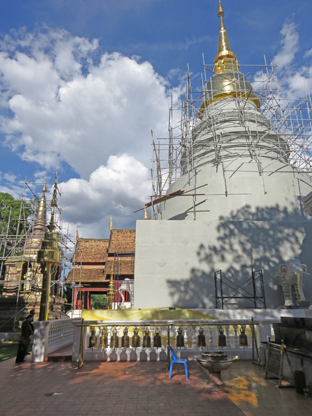 Chedi renovation at Wat Phra Singh in Chiang Mai, Thailand.