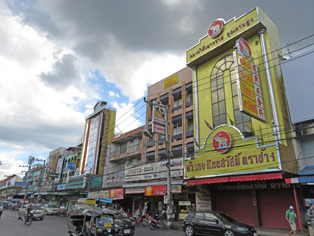 Some buildings near the northeast corner of Thanon Moon Muang in Chiang Mai, Thailand.