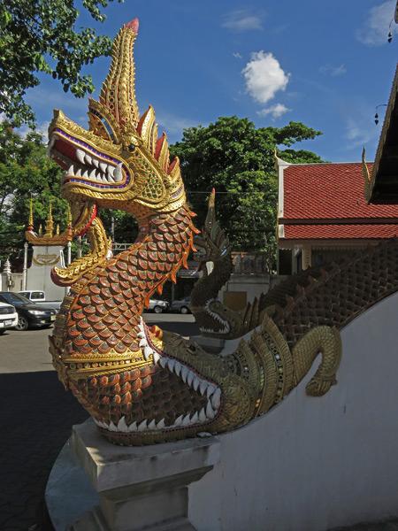 A dragon guards Wat Sumpow in Chiang Mai, Thailand.