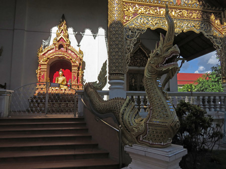 Dragons guard Wat Phra Singh in Chiang Mai, Thailand.
