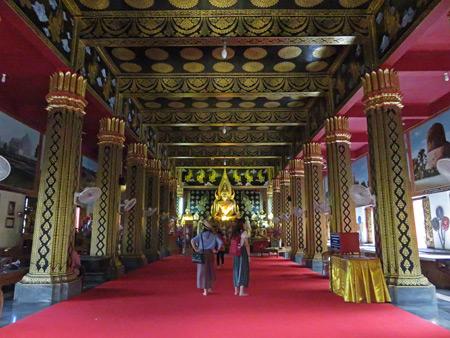 A gorgeous interior at Wat Sareerikkatart Sirirak in Chiang Mai, Thailand.