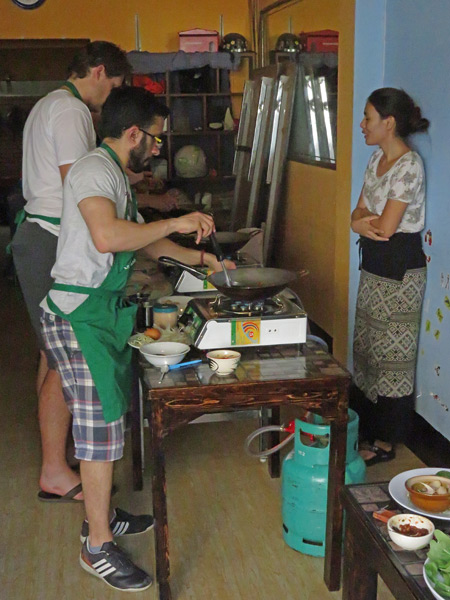 A Thai food cooking class gets underway at May Kaidee's in Chiang Mai, Thailand.