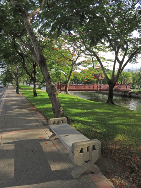 A scenic view of the moat along Thanon Arak in Chiang Mai, Thailand.