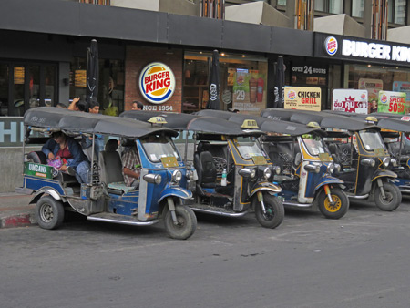 A bunch of tuk-tuks near Tapae Gate in Chiang Mai, Thailand.