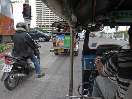 Riding in a tuk-tuk to the Arcade bus station in Chiang Mai, Thailand.