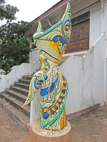 A Phi Ta Khon mask statue at the Dan Sai Folk Museum in Dan Sai, Thailand.