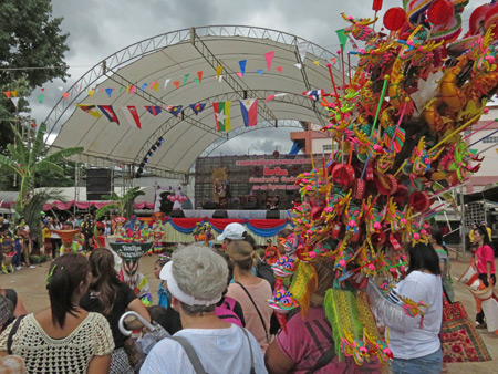 Looking toward the stage at the Phi Ta Khon festival at Wat Phon Chai in Dan Sai, Thailand.
