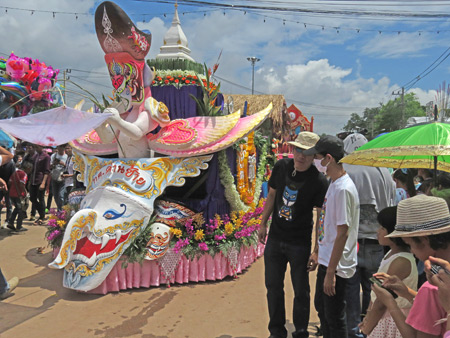 A fanciful float in the parade at the Phi Ta Khon festival in Dan Sai, Thailand.