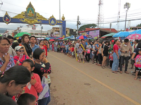 Just a small part of the parade route at the Phi Ta Khon festival in Dan Sai, Thailand.