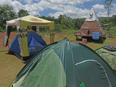 My little blue tent under a cover at the Mountain Green Resort in Dan Sai, Thailand.