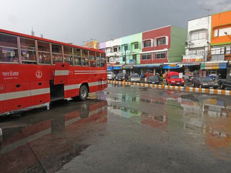 The bus station after a downpour in Phitsanulok, Thailand.