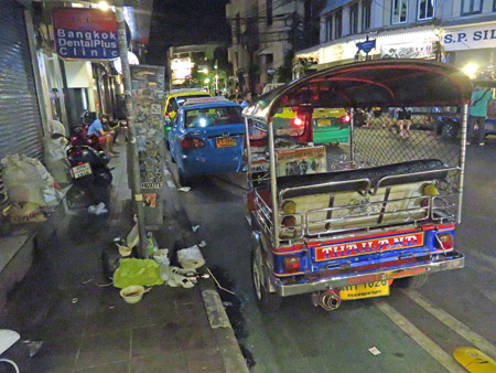 A tuk-tuk on Thanon Tanao in Banglamphu, Bangkok, Thailand.