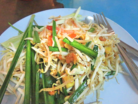My plate of hot, steaming Pad Thai from Pad Thai Fire Look on Sukhumvit Soi 38 in Sukhumvit, Bangkok, Thailand.