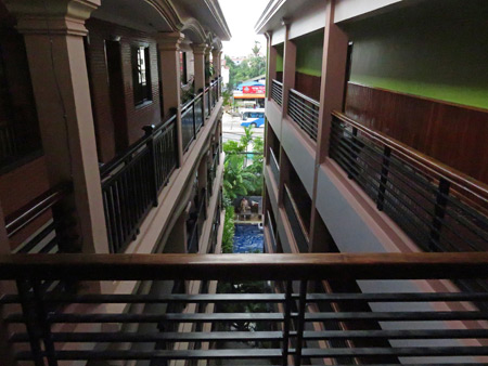 The walkways and cafe / swimming pool area down below at the Jasmine Guesthouse in Siem Reap, Cambodia.