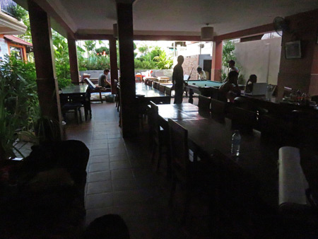 The cafe / swimming pool area at the Jasmine Guesthouse in Siem Reap, Cambodia.