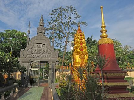 Multiple spires at Wat Preah Prom Rath in Siem Reap, Cambodia.