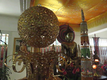 A golden Buddha image at Wat Bo in Siem Reap, Cambodia.
