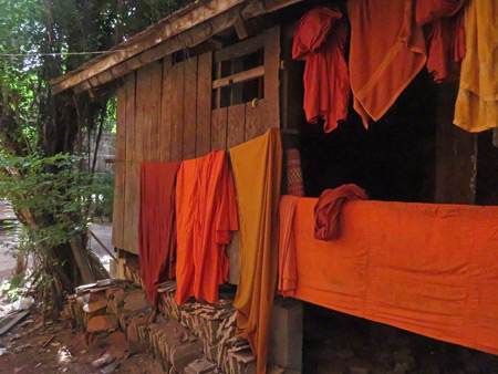The robes of Buddhist monks at Wat Bo in Siem Reap, Cambodia.