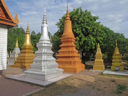 A bunch of chedis at Wat Bo in Siem Reap, Cambodia.