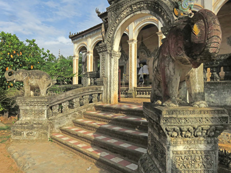 An intricately carved temple at Wat Bo in Siem Reap, Cambodia.