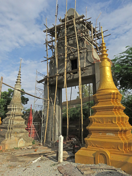 A gate under renovation at Wat Bo in Siem Reap, Cambodia.