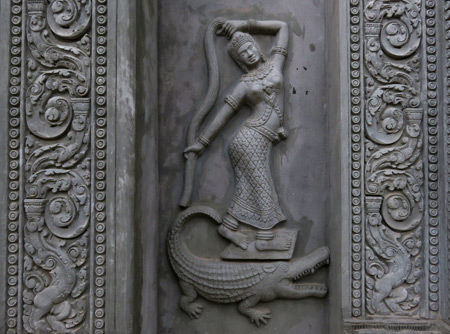 A beautiful carving on the gate to Wat Po Lanka in Siem Reap, Cambodia.