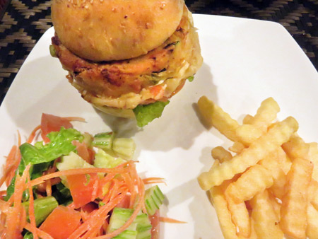 A super thick veggie burger, a few French fries and a tiny salad at the Peace Cafe in Siem Reap, Cambodia.