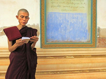 A Buddhist monk brushes up on a lesson before giving a sermon at Wat Preah An Kau Saa in Siem Reap, Cambodia.