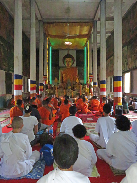 An afternoon Buddhist prayer service at Wat Preah An Kau Saa in Siem Reap, Cambodia.