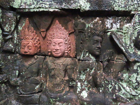 Beautiful carvings at the Terrace of the Elephants, Angkor Thom in Siem Reap, Cambodia.