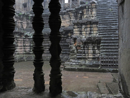 Steep stairs at Angkor Wat in Siem Reap, Cambodia.