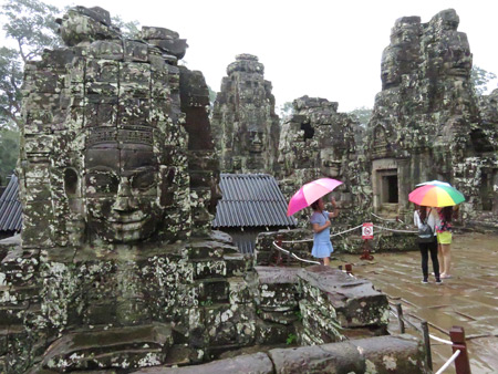 More giant faces wrought in stone at Bayon, Angkor Thom in Siem Reap, Cambodia.