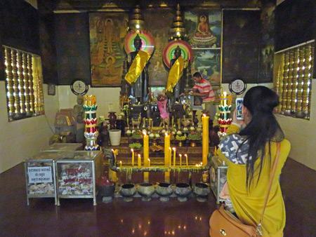 The Buddha image inside Wat Preah Ang Chek + Wat Preah Ang Chom in Siem Reap, Cambodia.