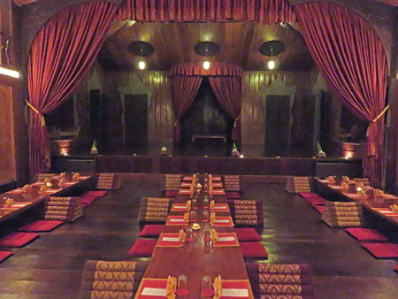 The dinner tables and stage at the Apsara Theater in Siem Reap, Cambodia.