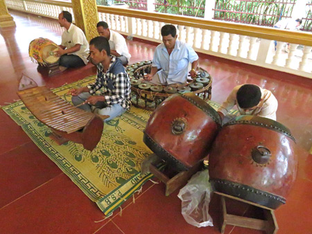 Traditional Cambodian musicians jam inside Wat Preah Ang Chek + Wat Preah Ang Chom in Siem Reap, Cambodia.