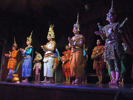 The troupe takes a bow at the Apsara Theater in Siem Reap, Cambodia.
