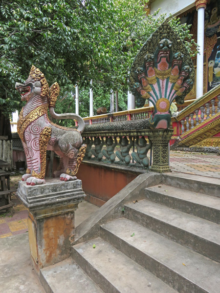 Dragons guard the main Buddhist temple at Wat Kesaram in Siem Reap, Cambodia.
