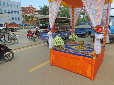 A shrine outside a ceremony on National Highway 6 in Siem Reap, Cambodia.