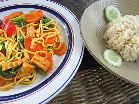 A plate of delicious tofu noodles at the Peace Cafe in Siem Reap, Cambodia.