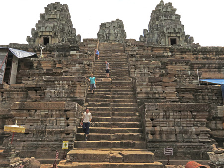A steep staircase at Ta Keo, Angkor in Siem Reap, Cambodia.