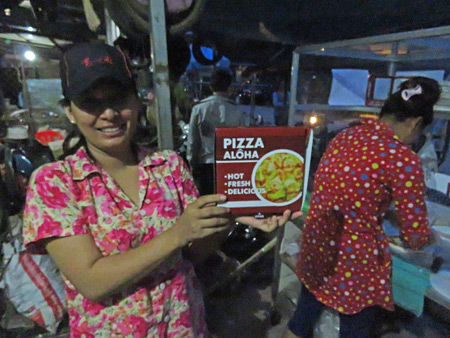 The girls who run the Pizza Aloha cart in Siem Reap, Cambodia.