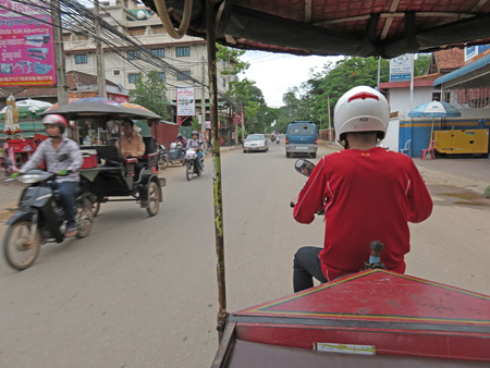 A tuk-tuk ride to the Attakan bus stop in Siem Reap, Cambodia.