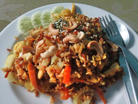 A plate of yummy veggie fried rice at May Kaidee's in Banglamphu, Bangkok, Thailand.