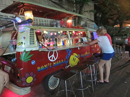 A bar inside a VW bus on Thanon Rambuttri in Banglamphu, Bangkok, Thailand.