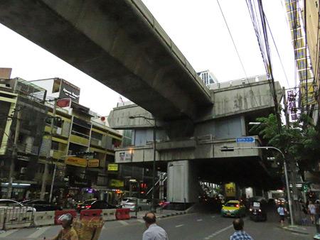 A SkyTrain station on Thanon Sukhumvit in Bangkok, Thailand.