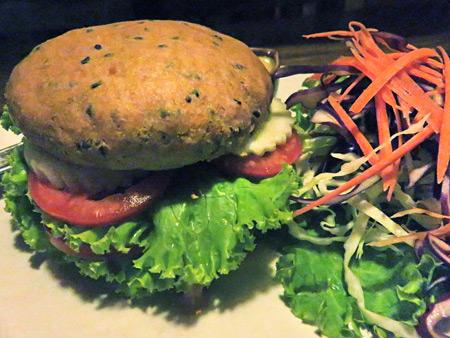 A veggie burger at ethos in Banglamphu, Bangkok, Thailand.
