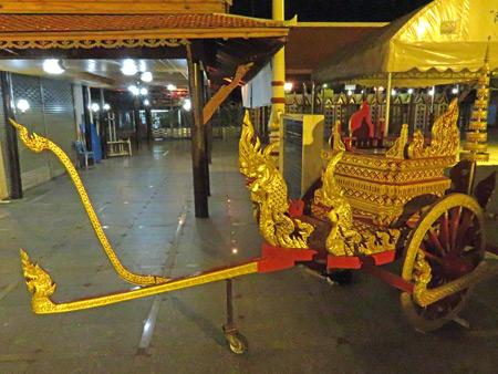 A chariot at Wat Intharavihan in Banglamphu, Bangkok, Thailand.